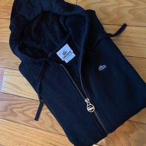 Lacoste Black zip up Hoodie NWOT